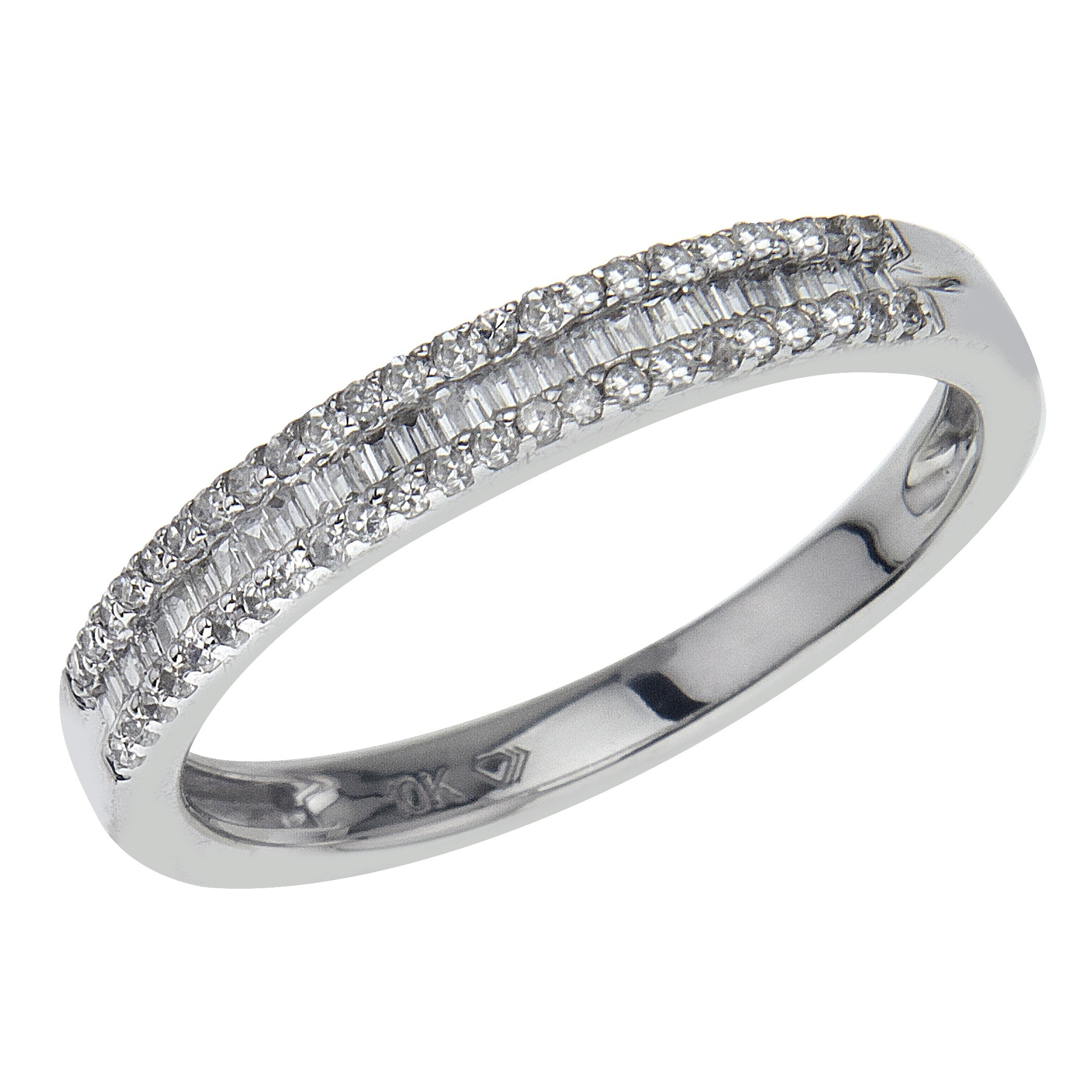 Diamond Stackable Ring 1/4 ct tw Round/Baguette 10K White Gold