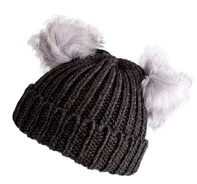 eb1c2c53e07 Fenside Country Clothing BBL007 Ladies Chunky Knit with Double Faux Fur Pom- Poms (Grey)  Amazon.co.uk  Clothing