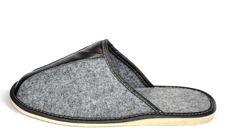 Offene Filzlatschen mit Anti-Rutsch Filzsohle /& Handgravur Schuhe aus Filz f/ür Herren Gem/ütliche Filzpantoffeln warme Indoor Hausschuhe