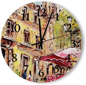 Customizable Pattern Oil Painting Marche Aux Fleurs Silent Classic Digital Wall Clock Easy to Read for Home Office School