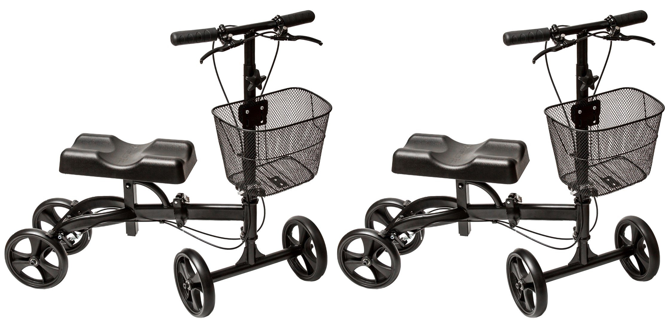 [2 PCS] Folding Medical Knee Walker (Matte Black) - The Only Rollabout Knee Scooter Engineered to Turn on a Dime