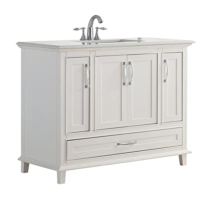 Simpli Home Ariana 42 Inch Bath Vanity With Bombay White Quartz Marble Top  Soft White