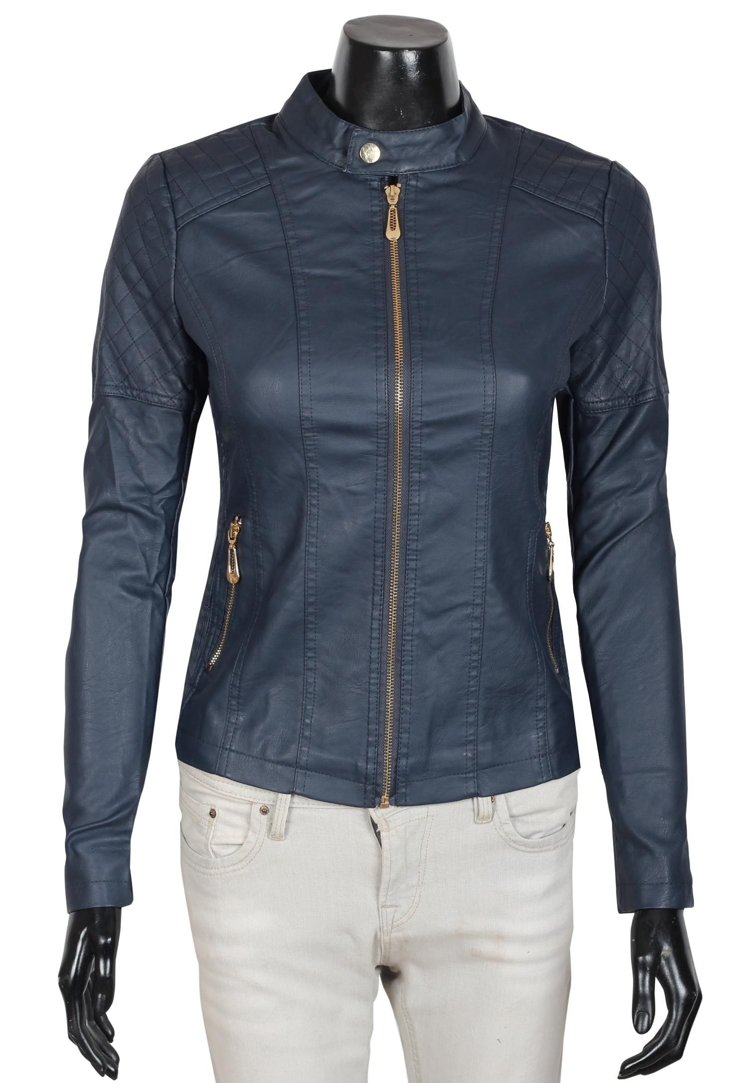 Decrum Womens Round Collar Motorcycle Jacket | Style 4 Navy, XS