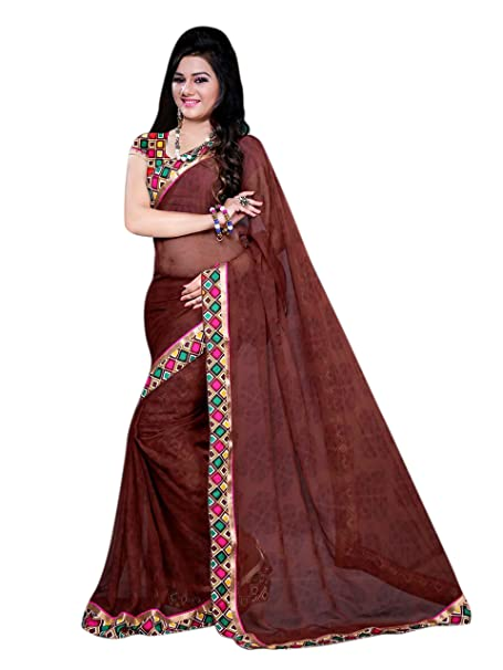 48e17fd480377e Amazon.com: Dancing Girl Chiffon Brown Printed Party Wear Saree with Blouse:  Clothing