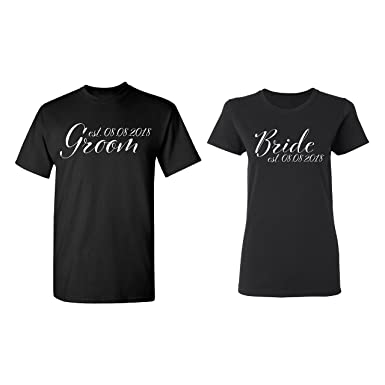 c0e6d56eb6 Zexpa Apparel Groom - Bride Personalized Couple Matching Shirt Set Newly  Married Customized Valentines Day Men