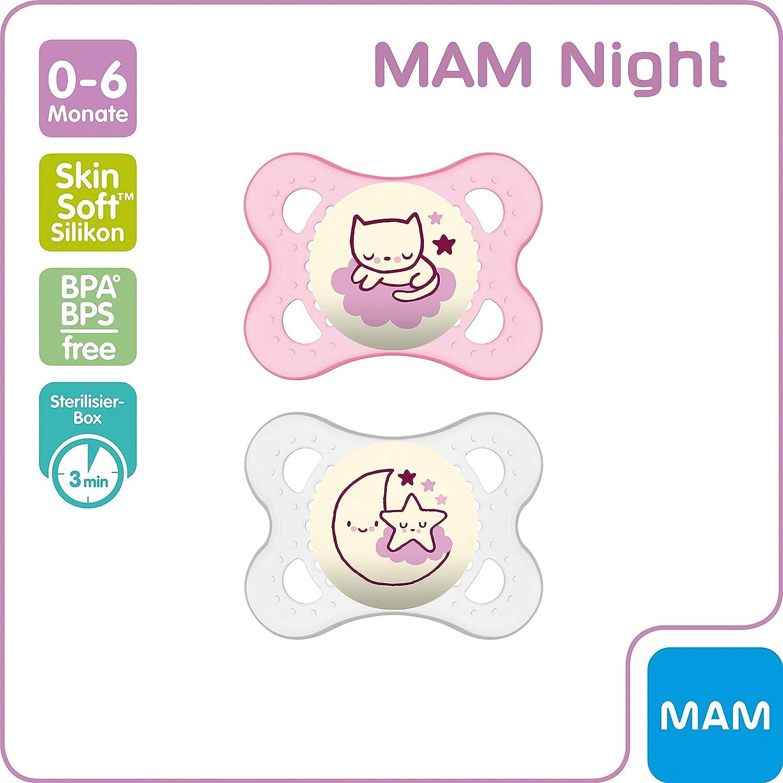- design peuvent varier MAM Sucettes Nuit 6 mois disponible en rose ou bleu