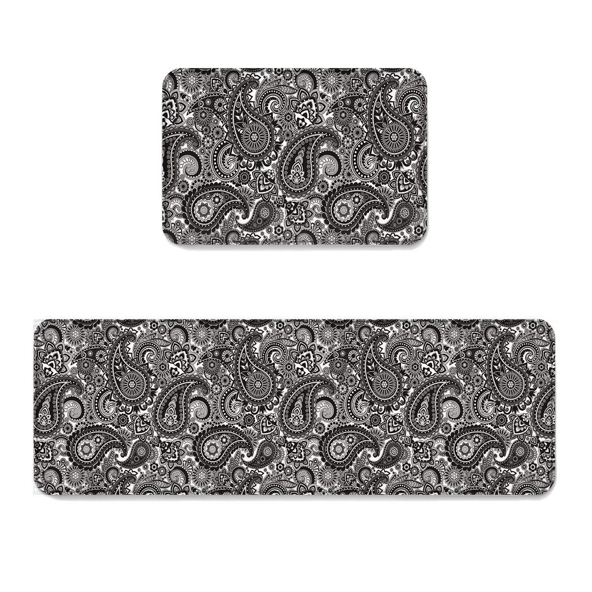 Beauty Decor Abstract 2 Piece Non-Slip Kitchen Mat Runner Rug Set Doormat Area Rugs Floral Paisley Pattern Ethnic Design Black White 23.6x35.4inch+23.6x70.9inch