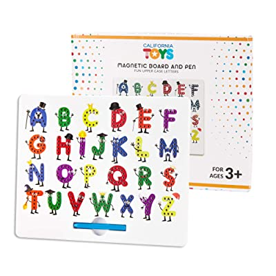 Magnetic Letter Board by California Toys - Writing Board for Kids - Alphabet Drawing Board with Upper Case Letters - User-Friendly Magnetic Stylus with Storage Slot - Educational and Interactive: Toys & Games