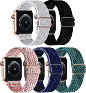 GBPOOT 5 Packs Nylon Stretch Band Compatible with Apple Watch Bands,Adjustable Soft Sport Breathable Loop for Iwatch Series 6/5/4/3/2/1/SE,Seashell/Black/PinkSand/Midnight Blue/Pine Green,38/40mm