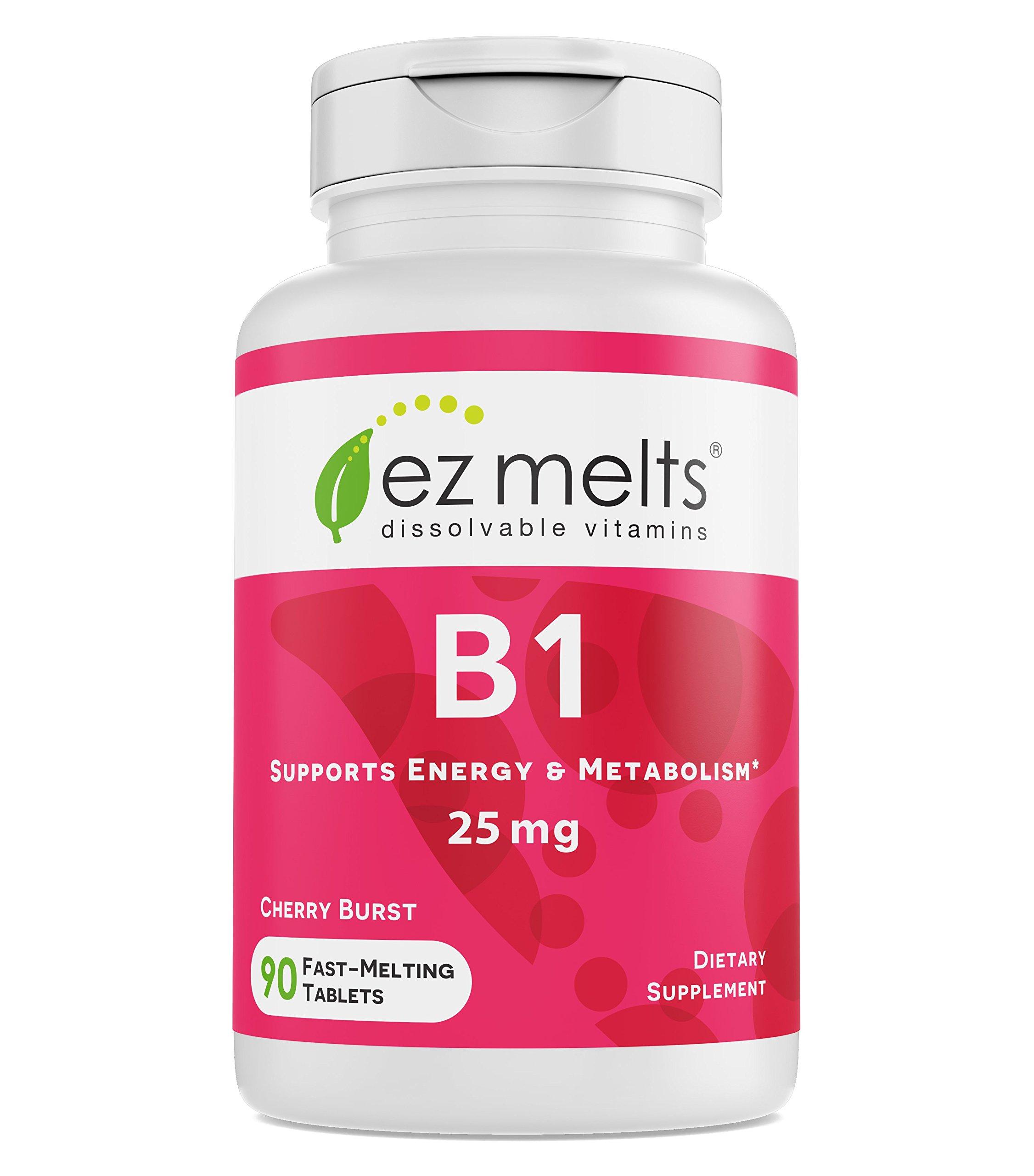EZ Melts B1 as Thiamine, 25 mg, Sublingual Vitamins, Vegan, Zero Sugar, Natural Cherry Flavor, 90 Fast Dissolve Tablets by EZ Melts