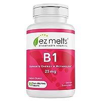 EZ Melts B1 as Thiamine, 25 mg, Immune Support, Sublingual Vitamins, Vegan, Zero...