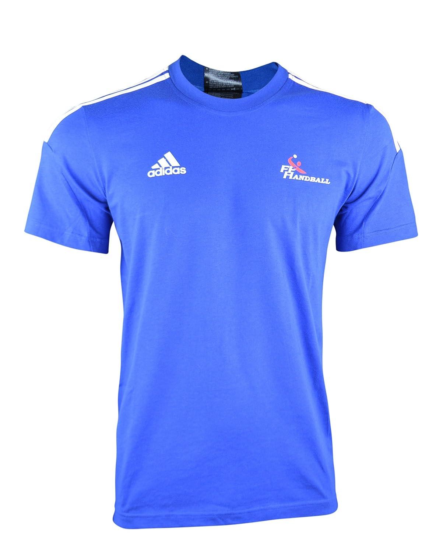 Adidas Men's France Hand Ball (FFHB) Short-Sleeved Crew-Neckline T-shirt Blue