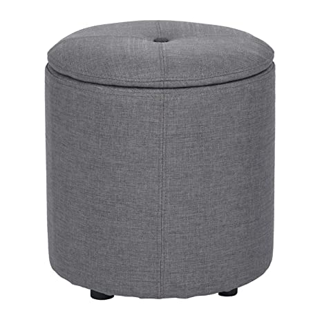 Miraculous Furniturer Multifunction Ottoman Round Sofa Foot Stool Velvet Cover Chair Grey Bralicious Painted Fabric Chair Ideas Braliciousco