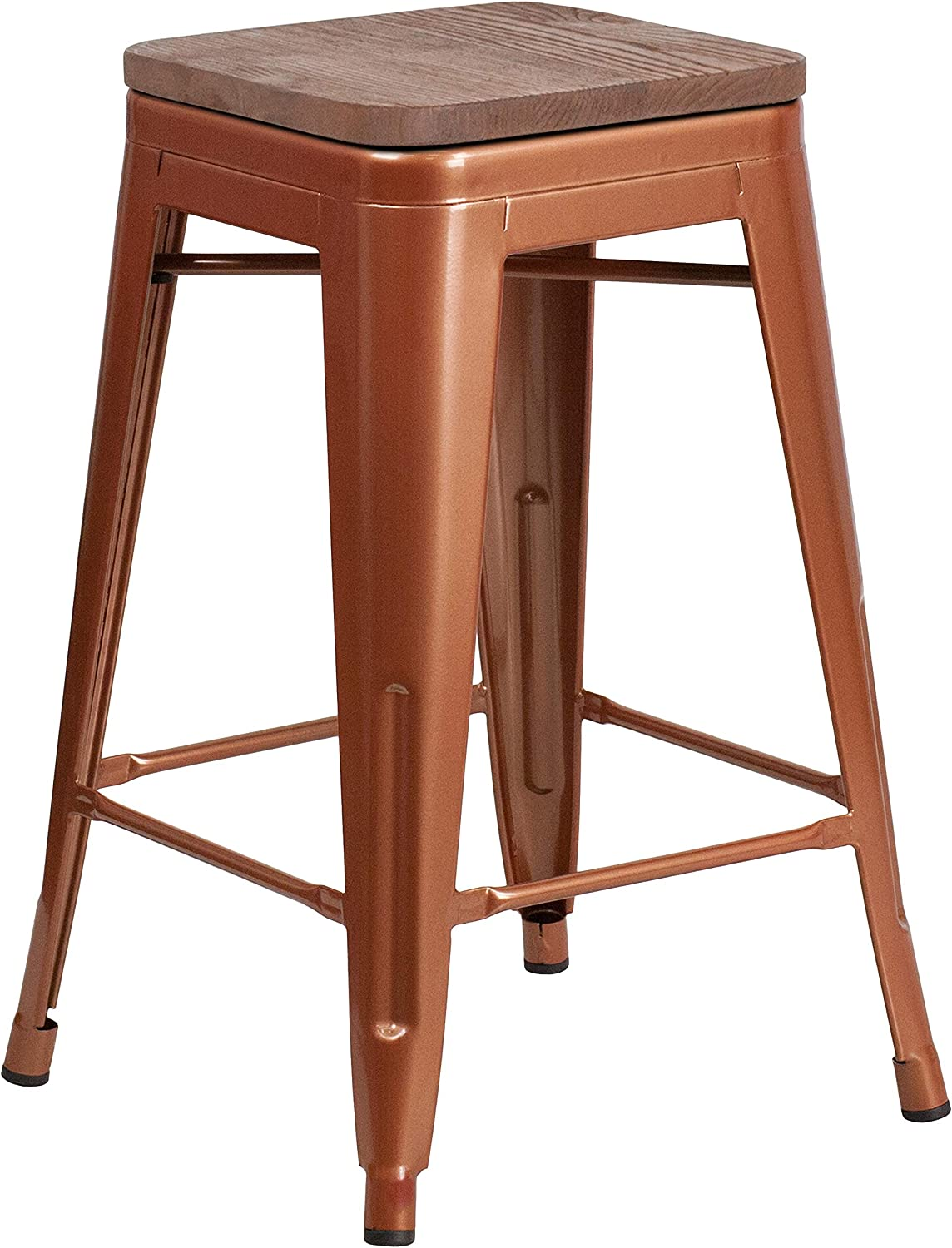 """Flash Furniture 24"""" High Backless Copper Counter Height Stool with Square Wood Seat"""