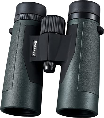 Eyeskey 10X42 Travel Binoculars for Adults – HD Bak-4 Roof Prism Binos with FMC Lens – Waterproof and Fog-Proof – Crystal Images for Hunting Wildlife Watching