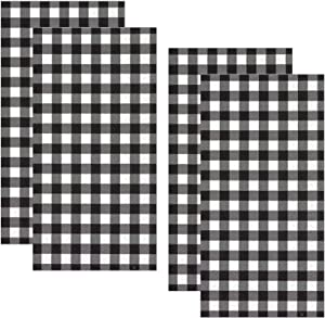 Black Buffalo Plaid disposable hand towel set 32 count pack bathroom napkin guest paper folded heavy duty decorative