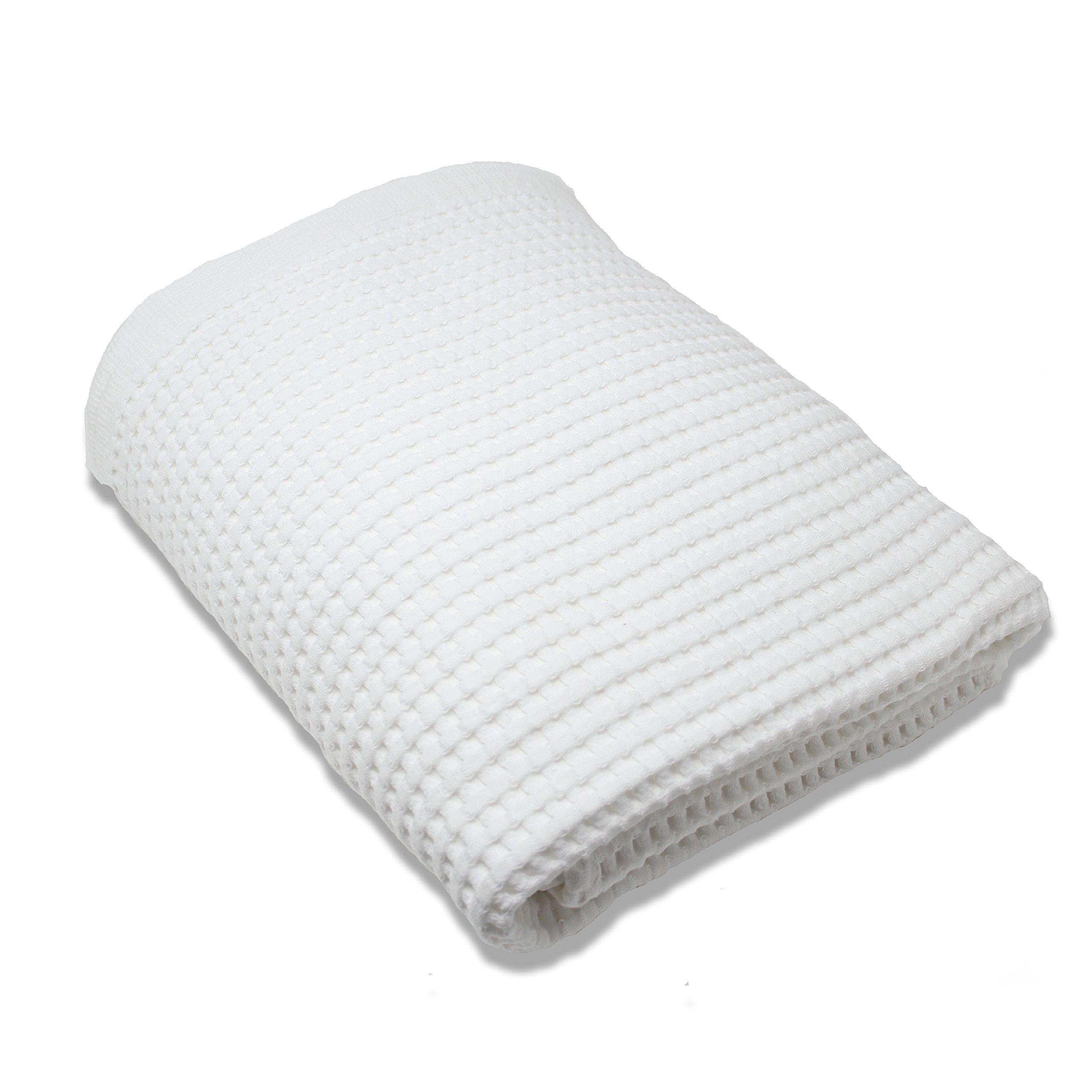 Gilden Tree 100% Natural Cotton Lattice Waffle Weave Bath Towel (White)