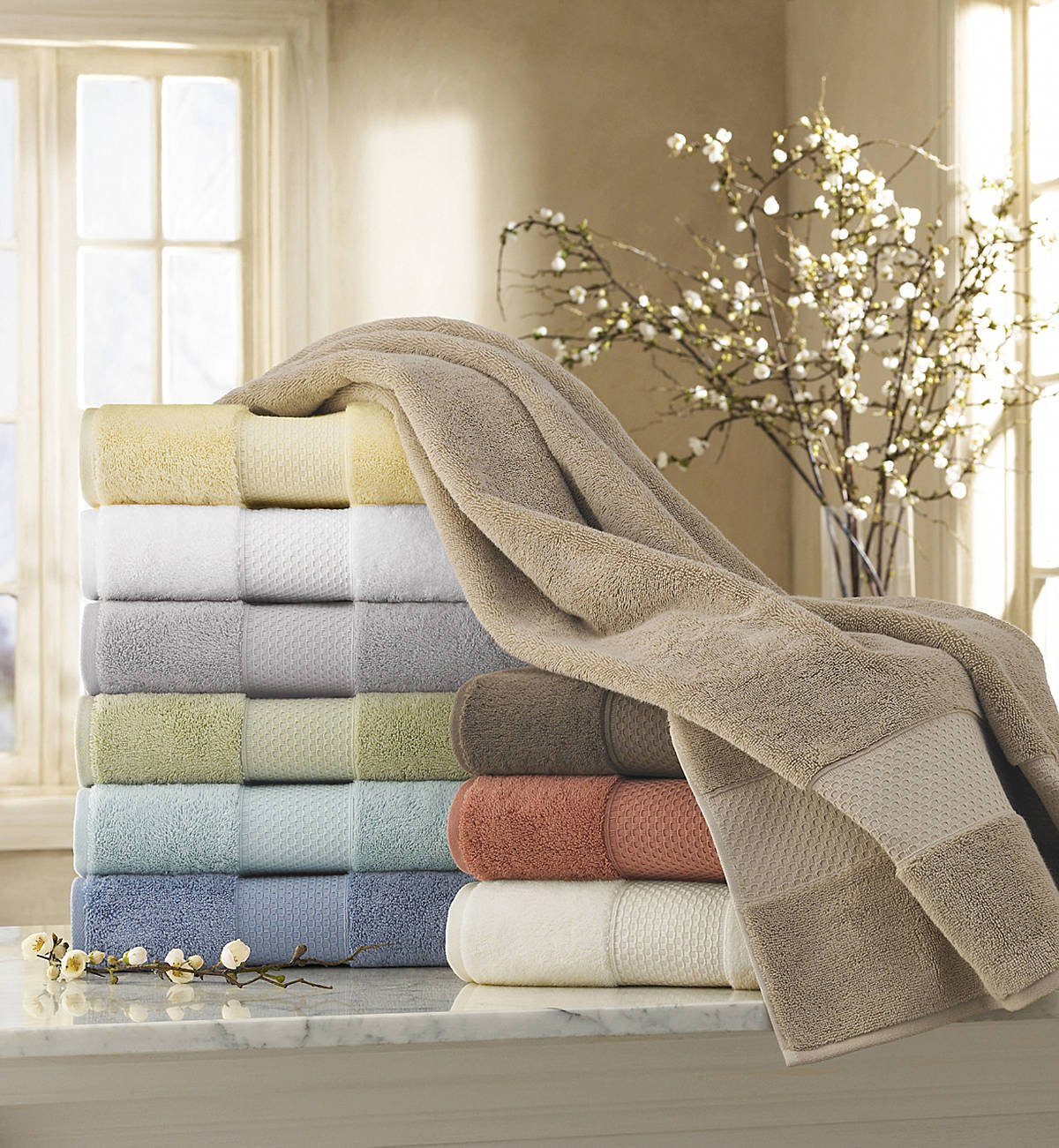 Luxor Linens - 6-Piece Bath Towel Set - Mariabella Collection - Luxurious Super Soft & Fade Resistant 100% Turkish Cotton -Available in Various Colors & 7 Different Embroidery Styles by Luxor Linens (Image #2)