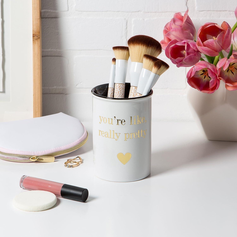 Amazoncom Tri Coastal Design Ceramic Makeup Brush Holder Storage Wake Up