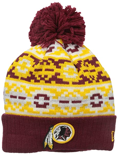 buy popular cef62 66ac3 Image Unavailable. Image not available for. Color  New Era NFL Washington  Redskins Retro Chill Pom Beanie ...