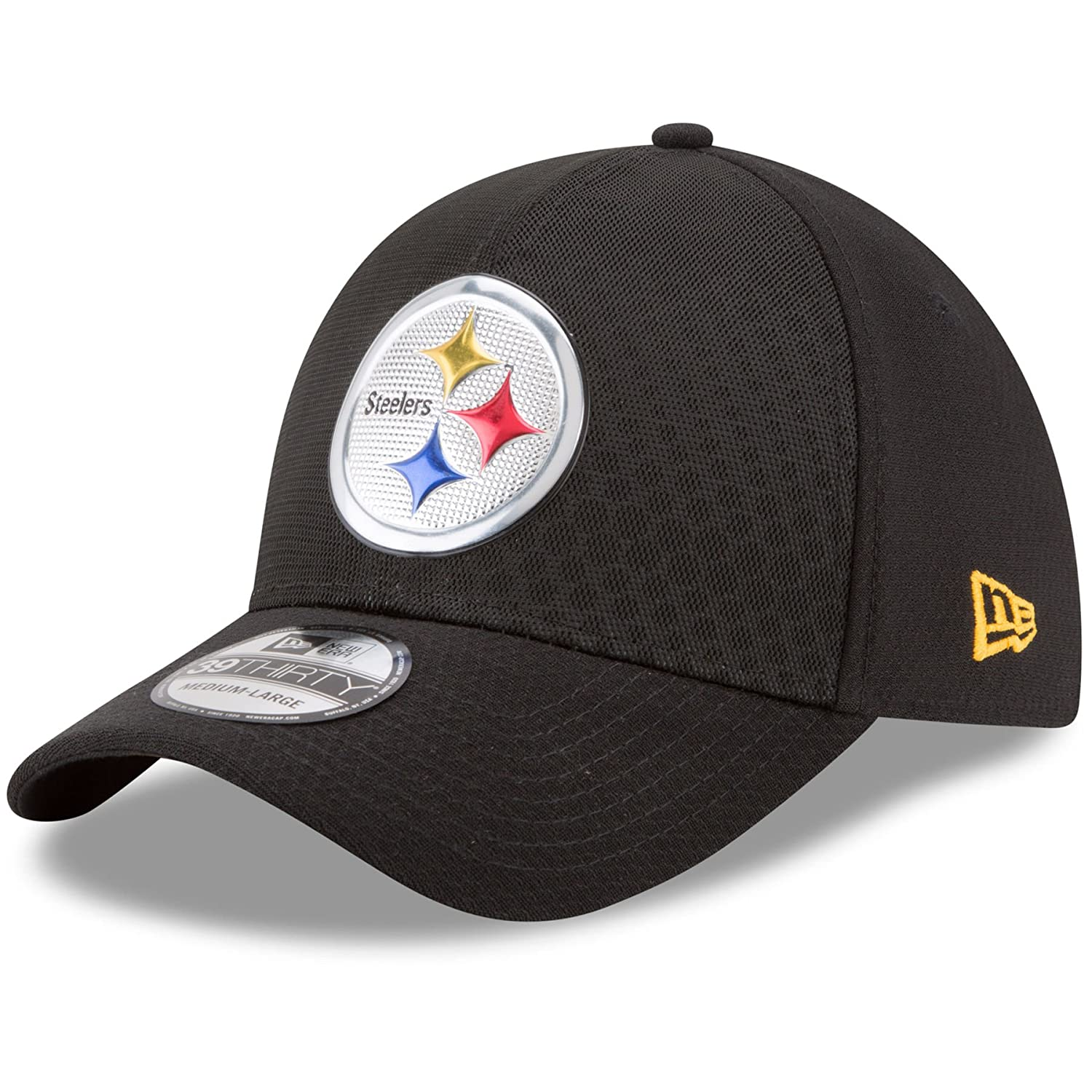 Amazon.com  Pittsburgh Steelers New Era Black 2017 Color Rush 39THIRTY Flex  Hat  Sports   Outdoors a837a86ef