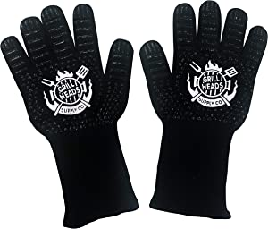 Grillheads Supply Heat Resistant Gloves [up to 1472°F], Heat Resistant, Non-Slip, 13 Inch, Pure Comfort Grilling Gloves Including One Year Warranty