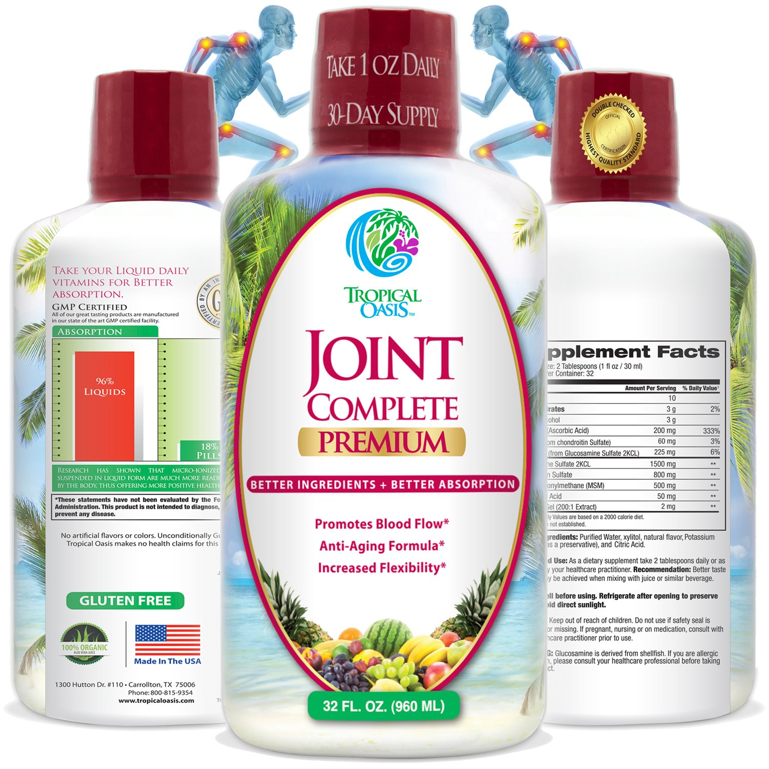Joint Complete Premium - Liquid Joint Supplement with Liquid Glucosamine Sulfate, Chondroitin, MSM & Hyaluronic Acid - For Bone, Joint Health, & Joint Pain Relief - 96% Max Absorption- 32oz, 32 serv by Tropical Oasis