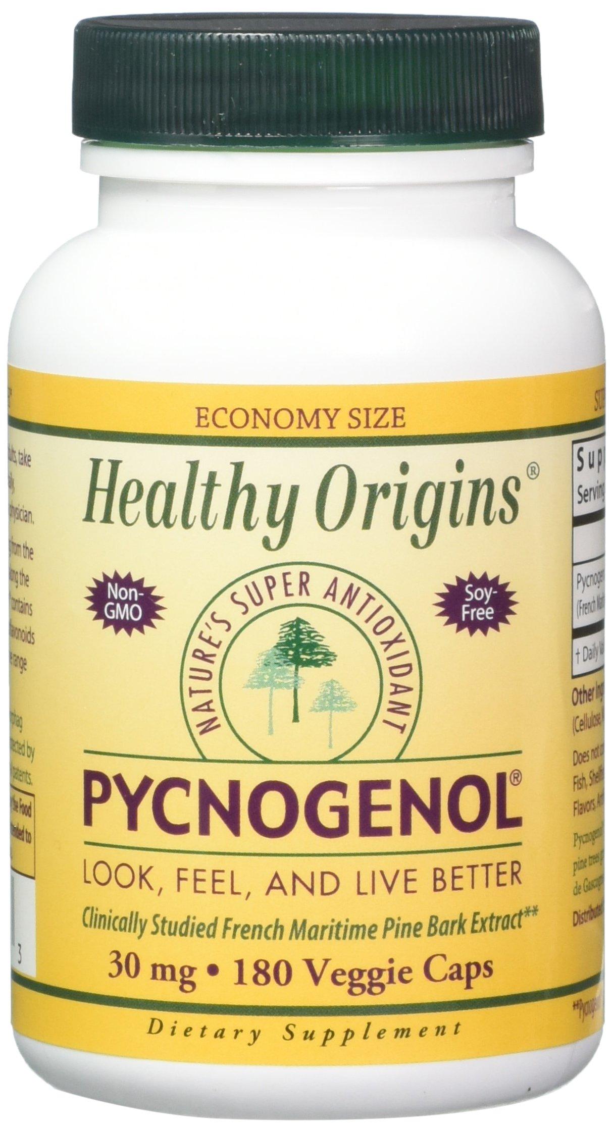 Healthy Origins Pycnogenol Veg Capsules, 30 mg, 180 Count