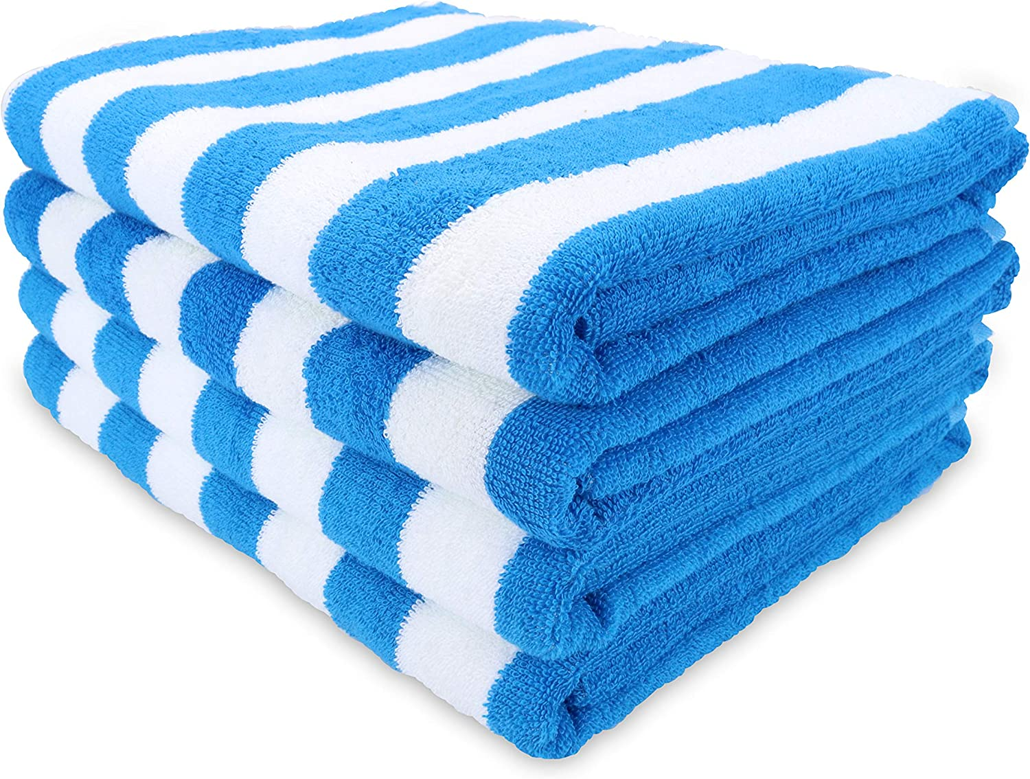 California Cabana Striped Oversized Beach Towel Pack of 4, Ringspun Cotton Double Yarn Strength