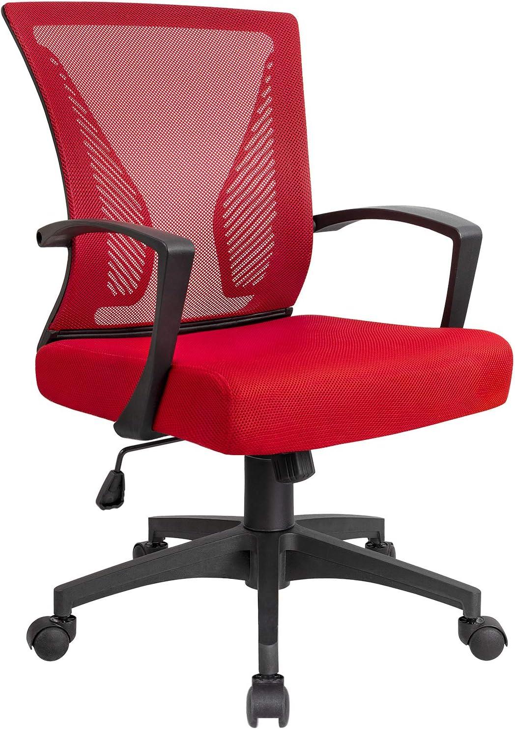KaiMeng Office Chair Ergonomic Mesh Computer Chair, Mid Back Swilvel Desk Chair Modern Adjustable Executive Chair (Red)