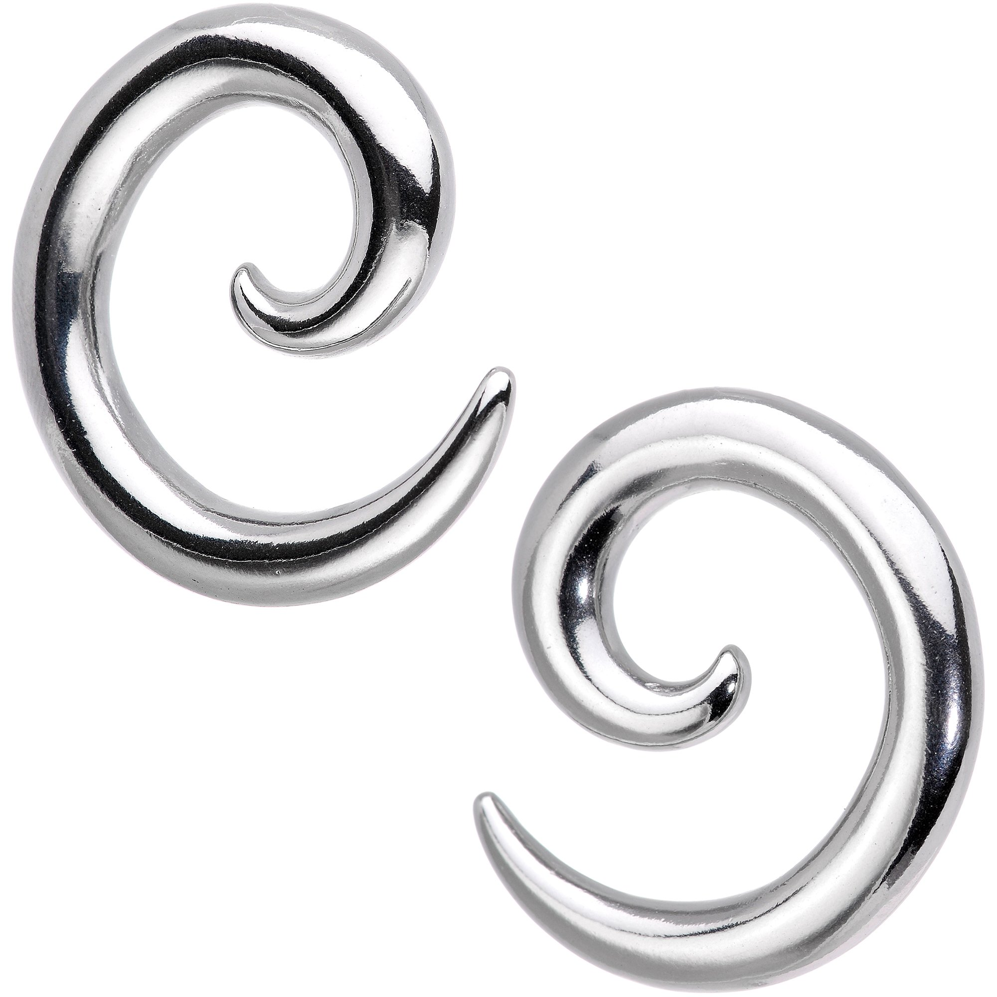 Body Candy 316L Stainless Steel Curved Spiral Taper Set 2 Gauge