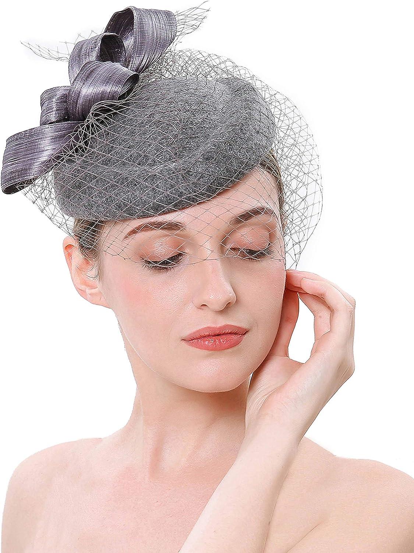 BABEYOND Women's Pillbox Fascinator Hat Kentucky Derby Hat Veil Fascinator Headband Tea Party Fascinator Hat for Cocktail