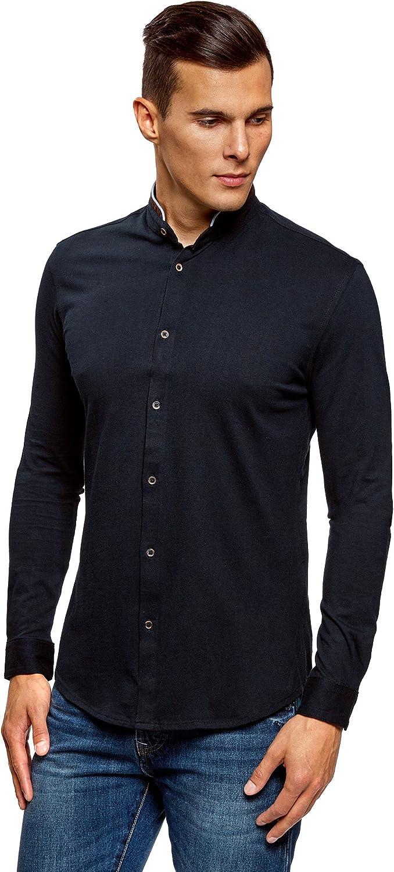 oodji Ultra Hombre Camisa de Punto con Cuello Mao, Azul, сm 0 / ES/XL: Amazon.es: Ropa y accesorios