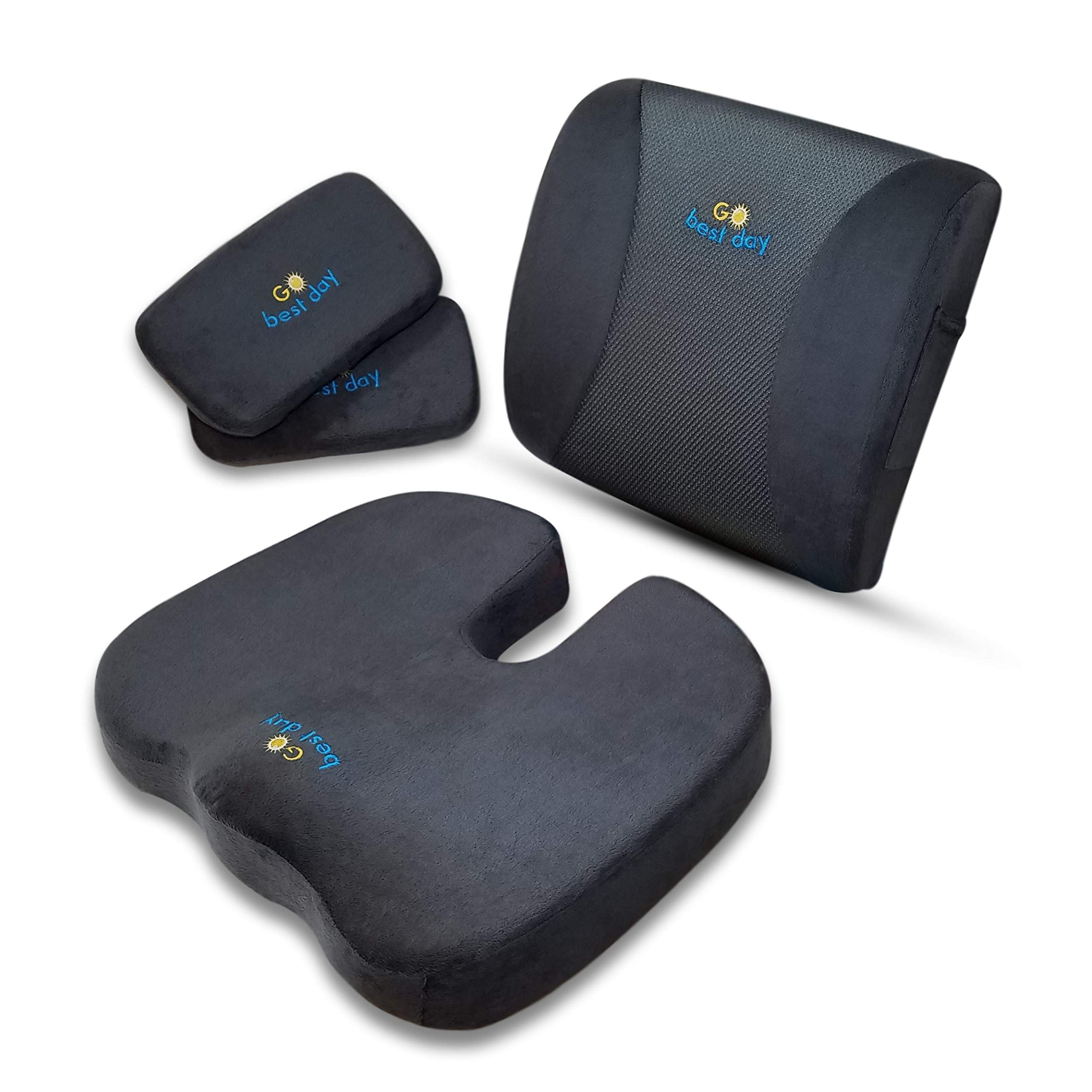 GoBestDay Seat Cushion Office Chair - Back Support and 2 Armrest Pads. Premium Memory Foam Relieve Coccyx Sciatica Tailbone Lumbar Pain. 3 in 1 Set Ideal for Car Seat Wheelchair Gaming Chair.