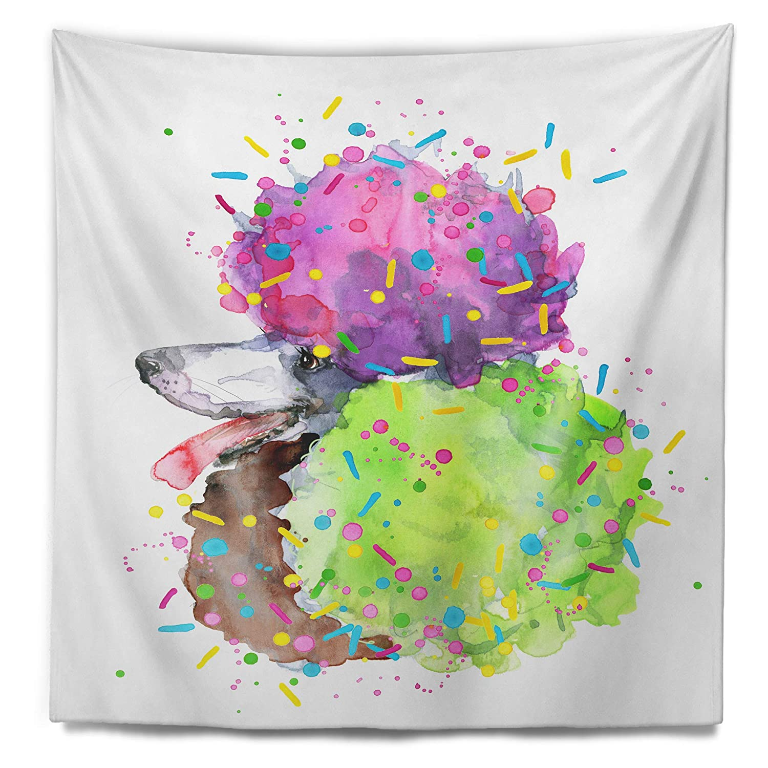 Designart TAP13241-68-80  Cute Brown Dog with Color Spheres Contemporary Animal Blanket D/écor Art for Home and Office Wall Tapestry XX-Large 68 in x 80 in in