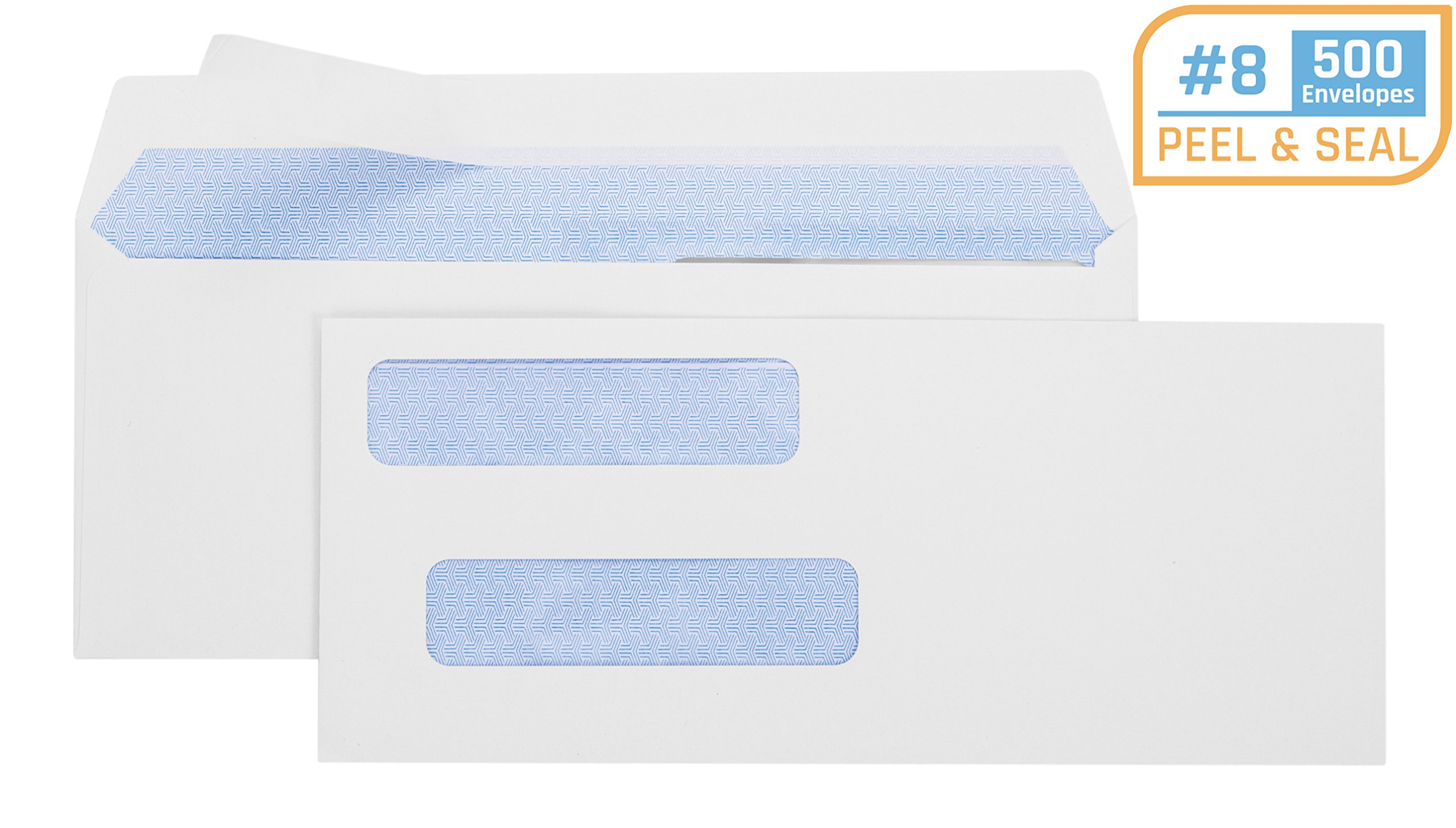 Office Deed 500 Pack #8 Double Window Envelope SELF Seal Adhesive Tinted Security Envelopes Quickbooks Check, Business Check, Documents Secure Mailing, 3 5/8'' x 8 11/16'', White Envelope