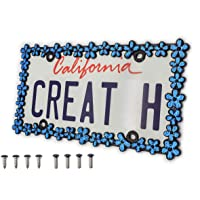 creathome 3D Shining Daisy Wrenth License Plate Frame from Pure Zinc Alloy Metal Perfect Plate Holder,Matt Black with…