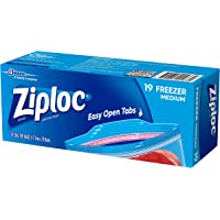 Ziploc Plastic Freezer Bags with Smart Zip Plus Seal and Easy Open Tabs, BPA Free, Medium, 19 Count