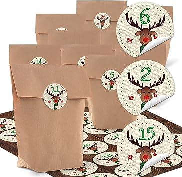 Schnur und Zahlen Adventskalender zum Aufhängen und Befüllen mit Papiertüten