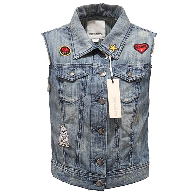 best service eda2f db50a Diesel 0923T giubbotto jeans smanicato girl sleveless jacket ...