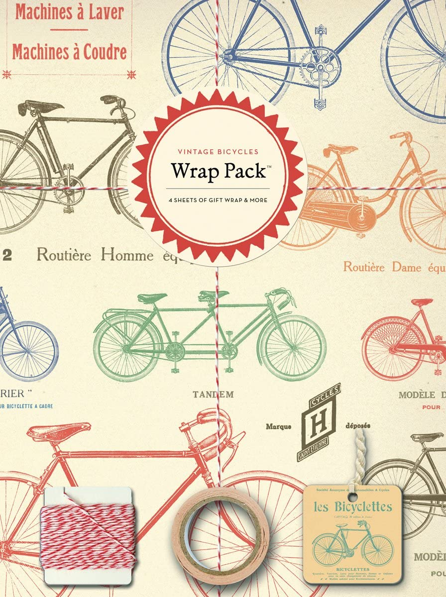 Vintage Bicycles Cavallini Papers 4-Sheet Wrap Pack