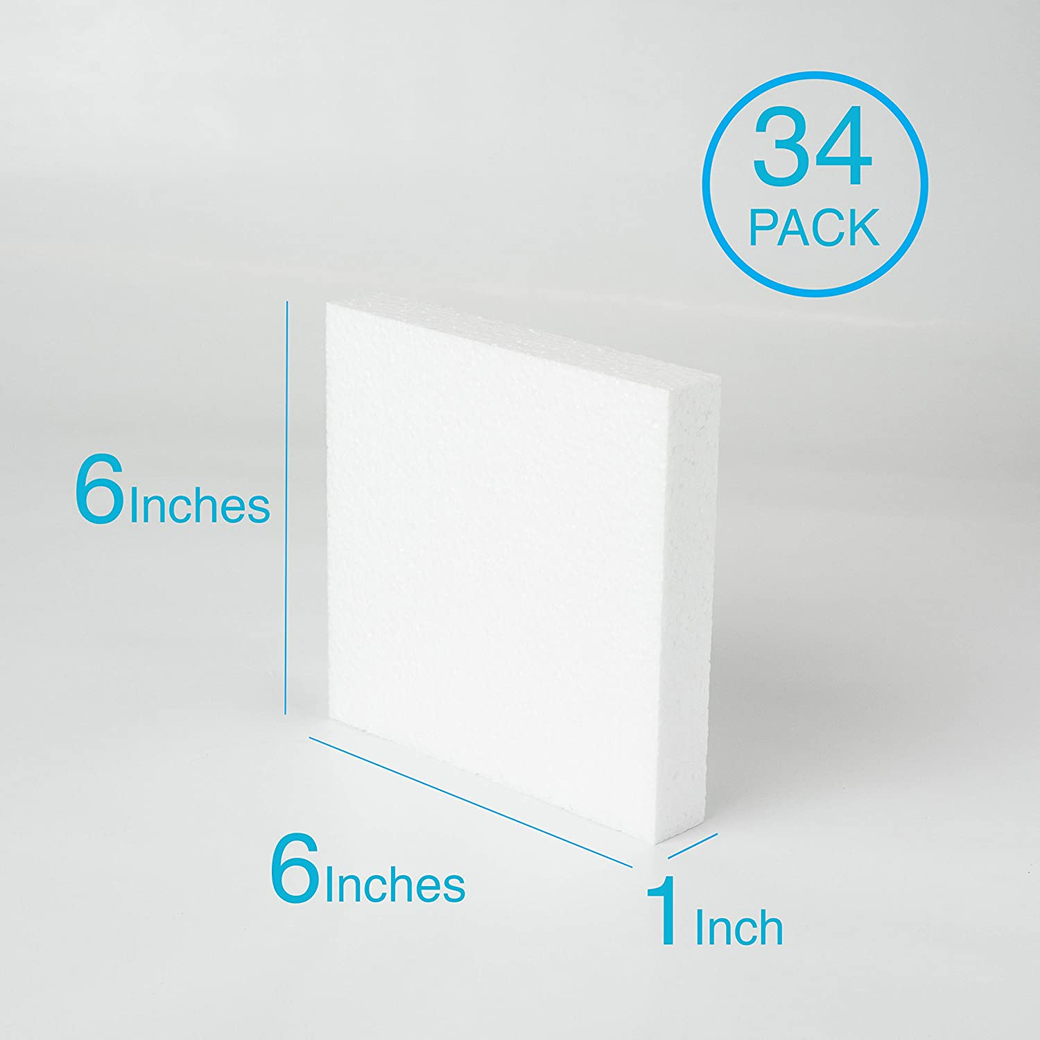 12 Pack Silverlake Craft Foam Block Art Projects and Floral Arrangements 12 Pack of 6x6x1 EPS Polystyrene Styrofoam Cubes for Crafting Modeling Sculpting Block DIY School /& Home Art Projects