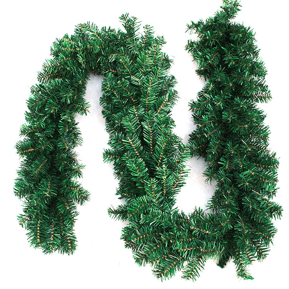 Interlink-UK 9ft Christmas Green Garland Xmas Pine Garland Wreaths (Green Garland, 1 Pack) Interlink-US
