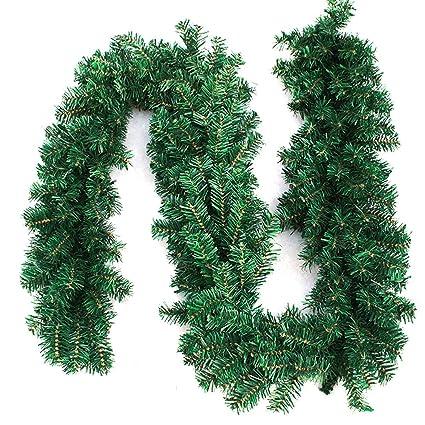 interlink uk 9ft christmas green garland xmas pine garland wreaths green garland 2 - Green Christmas Garland