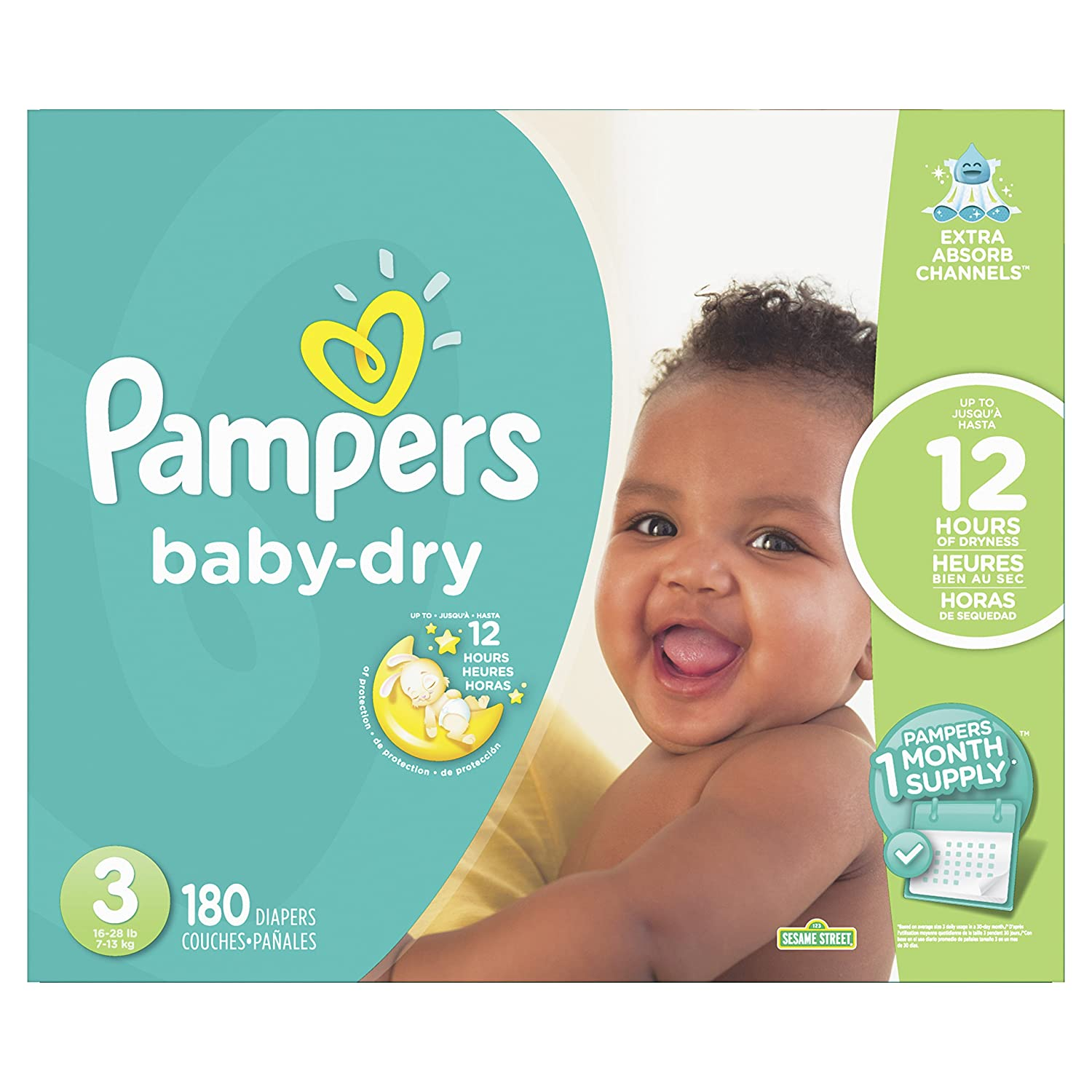 Amazon.com: Pampers Baby-Dry Disposable Diapers Size 3, 180 Count, ONE MONTH SUPPLY: Health & Personal Care