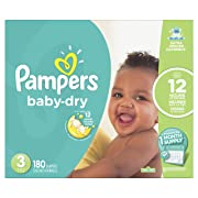 Pampers Baby-Dry Disposable Diapers Size 3, 180 Count, ONE MONTH SUPPLY