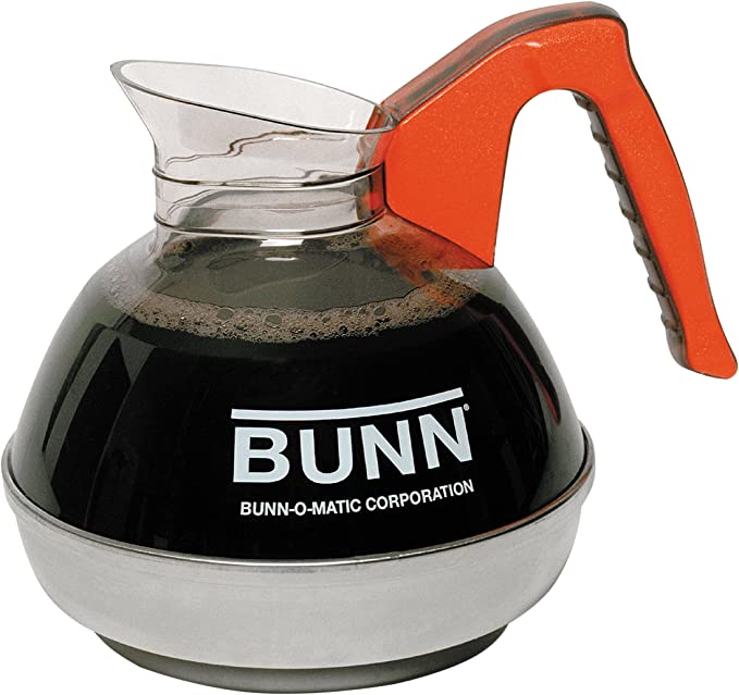 BUNN 6101.0101 Easy Pour Commercial 12-Cup Decaf Coffee Decanter, Orange