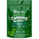 Zesty Paws Calming OraStix for Dogs - Dental Sticks for Stress and Anxiety Relief with Hemp Melatonin Chamomile Dog Tartar Te