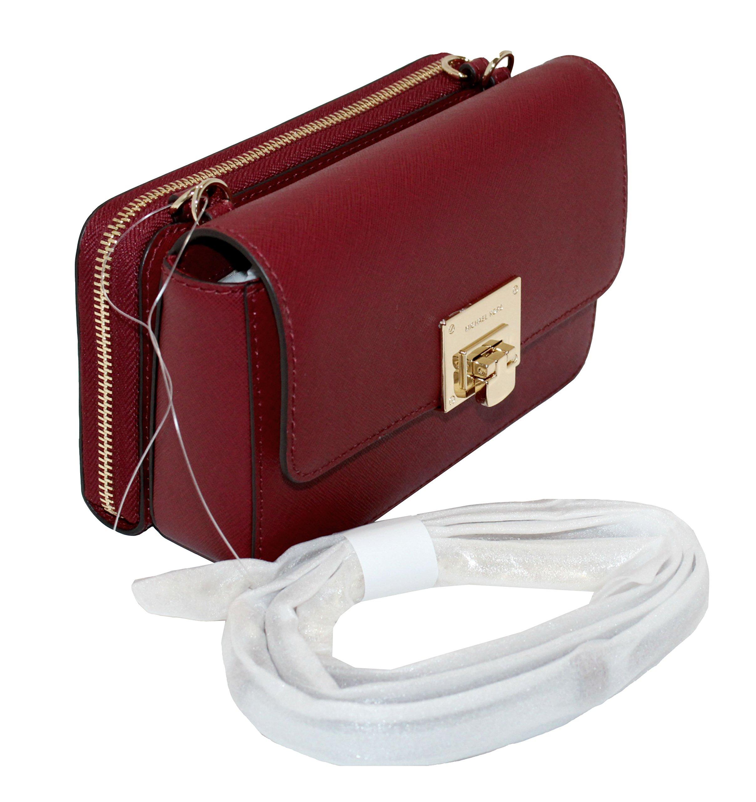 MICHAEL Michael Kors Tina Women's Wallet Clutch Xbody Shoulder Leather Double Bag (Cherry)