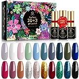 MEFA Gel Nail Polish Set 23 Pcs with Nice Box, Soak Off Glitter Dark Gel Varnish with Base Coat and No Wipe Glossy Top…